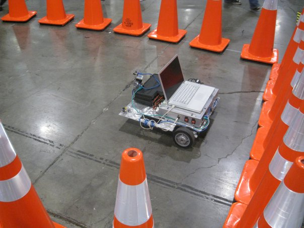 Sovereign the robot navigating a maze of cones